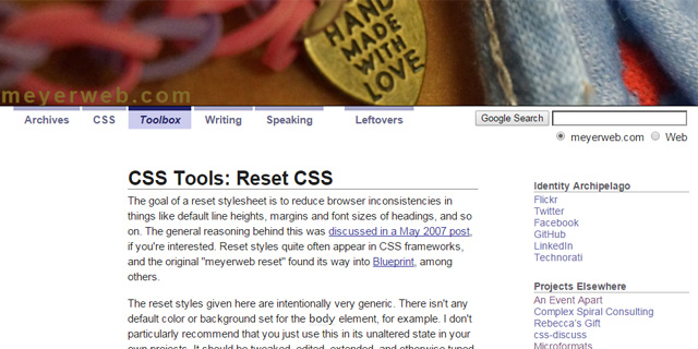 thesis css reset